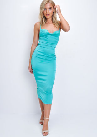 Satin Lace Up Back Slip Midi Dress Turquoise Blue