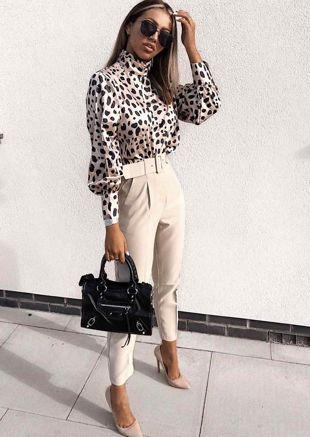 Satin Leopard Print High Neck Crop Blouse Multi