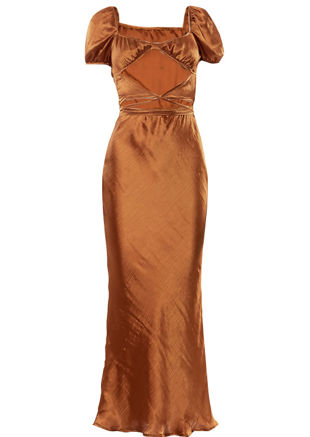 Satin Ruched Cupped Puff Sleeved Front Cut Out Maxi Dress Brown