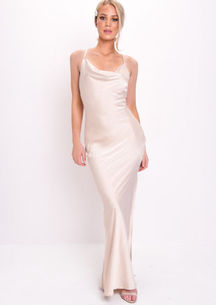 Satin Slip Cowl Neck Side Split Maxi Dress Beige