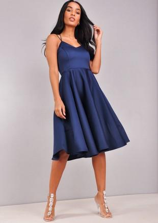 Satin Strappy V-Neck Midi Dress Navy Blue