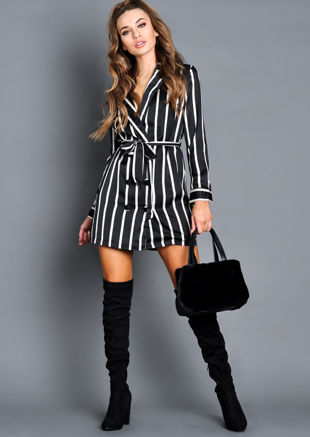 Satin Stripe Double Breasted Blazer Mini Dress Black