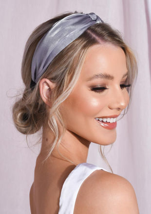 Satin Twist Knot Headband Grey