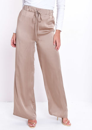 Satin Wide Leg Tie Waist Trousers Taupe Beige