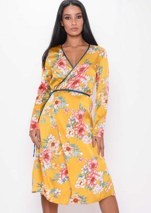 Satin Wrap Over FloralKimono DressMustard Yellow