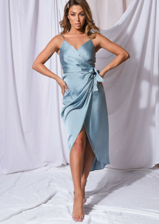 Satin Wrap Over Midi Dress Duck Egg Blue