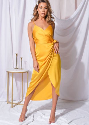 Satin Wrap Over Midi Dress Yellow