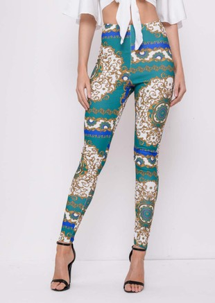 Scarf Print Leggings Trousers Green