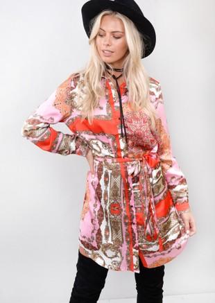 Scarf Print Tie Waist Shirt Dress Multi