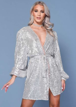 Sequin Belted Wrap Over Long Puff Sleeve Mini Dress Sliver