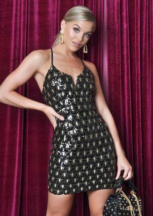 Sequin Cross Back Deco Mini Dress Black