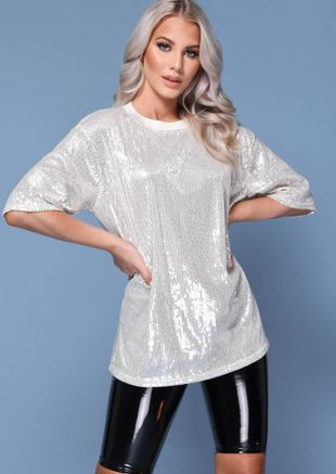 Sequin Detail Crew Neck T-Shirt Beige