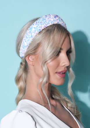 Sequin Embellished Padded Velvet Headband White