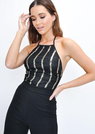 Sequin Gold Stripe Lace Halterneck Bodysuit Black