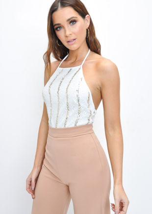 Sequin Gold Stripe Lace Halterneck Bodysuit White