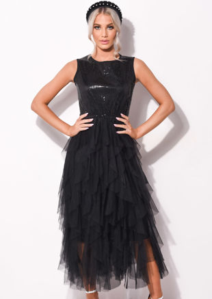 Sequin Layered Tulle Ruffle Maxi Dress Black