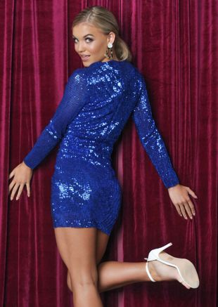 Sequin Plunge Wrap Front Mini Dress Blue
