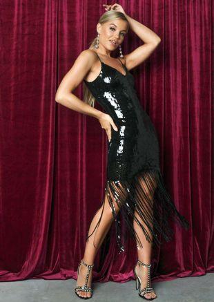 Sequin Strappy Fringe Hem Mini Dress Black