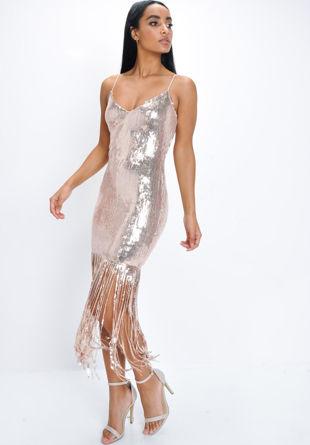 Sequin Strappy Fringe Hem Mini Dress Rose Gold