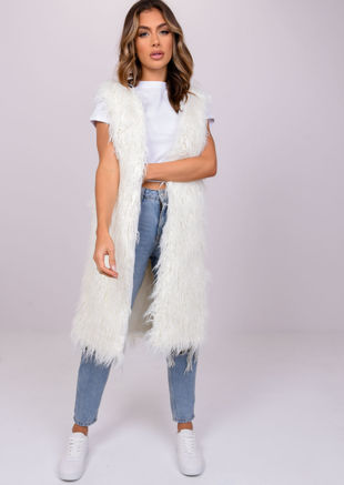Shaggy Faux Fur Longline Sleeveless Gilet White