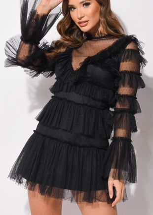 Tulle Tiered Frill Detail Long Sleeve Mini Dress Black