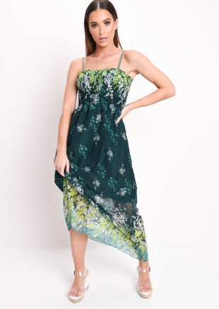 Shirred Bodice Printed Maxi Dress Green
