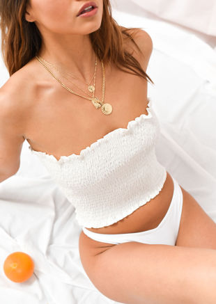 Shirred Frill Hem Crop Bandeau Top White