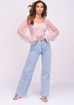 Shirred Organza Polka Dot Mesh Long Sleeve Crop Top Pink