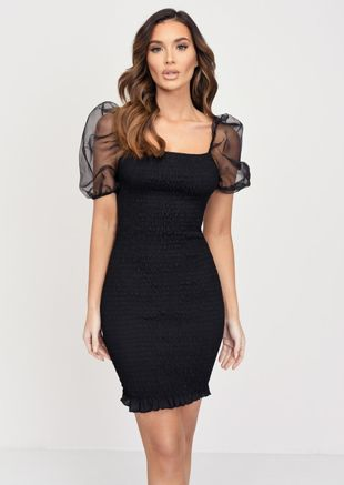 Shirred Organza Puff Sleeve Square Neck Mini Dress Black
