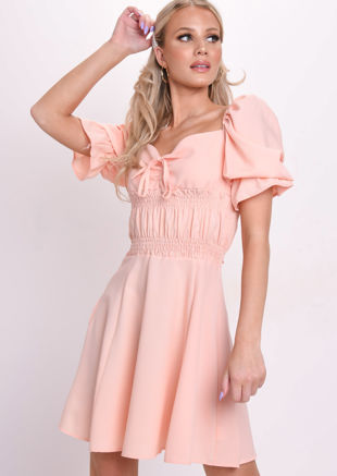 Shirred Square Neck Mini Dress Coral Pink