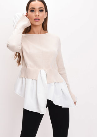 Shirt Hem Knit Jumper Beige