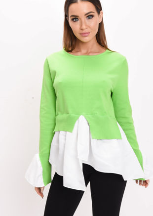 Shirt Hem Knit Jumper Green