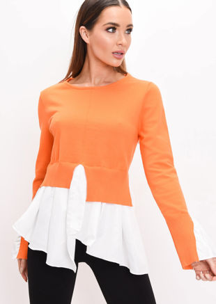 Shirt Hem Knit Jumper Orange