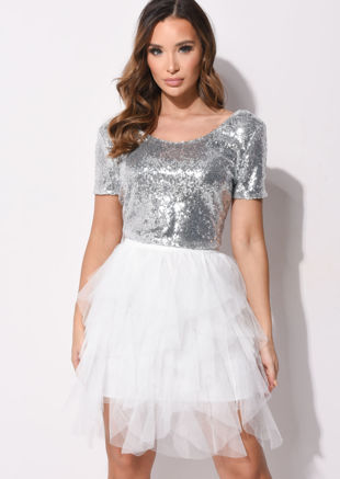 Short Sleeve Sequin Round Neck Crop Top Silver