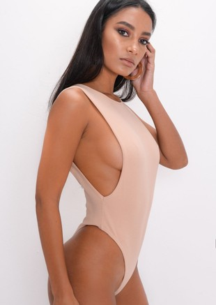 Side Boob Thong Bodysuit Beige