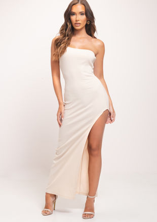 Side Split One Shoulder Maxi Bodycon Dress Beige