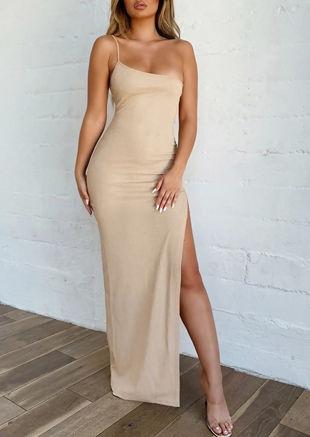 Side Split One Shoulder Maxi Bodycon Dress Beige