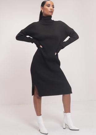 Side Split Turtle Neck Midi Jumper Dress Black