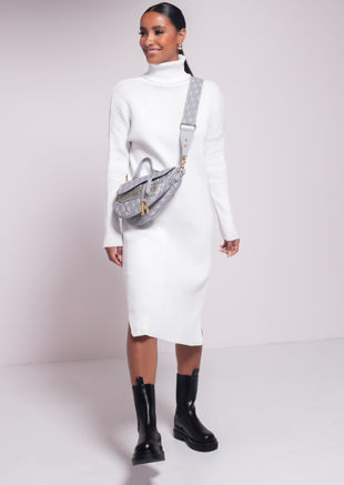 Side Split Turtle Neck Midi Jumper Dress White