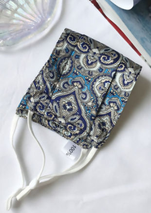 Paisley Silk Stretch Lace String Face Mask Blue
