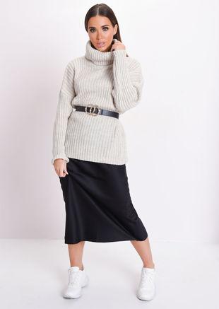 Silky Satin Midi Skirt Black