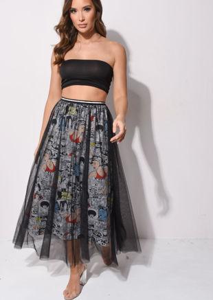 Comic Printed Tulle Maxi Skirt Multi