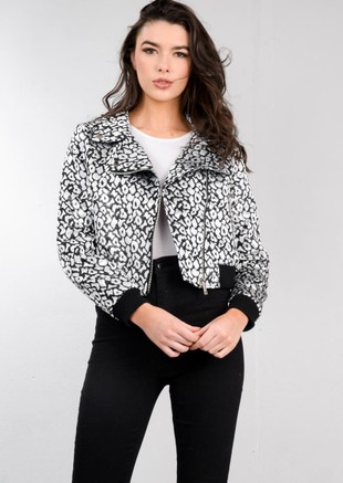 Silver Metallic Animal Print Bomber Jacket Black