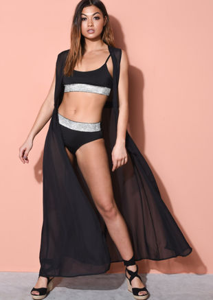 Sleeveless Cover Up Maxi Kimono Black
