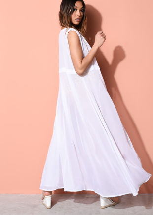 Sleeveless Cover Up Maxi Kimono White