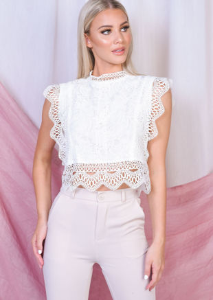 Sleeveless Lace Crop Top White