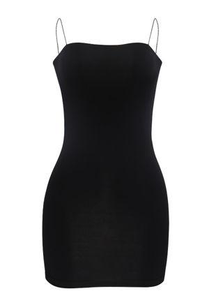 Slinky Strappy Mini Bodycon Dress Black
