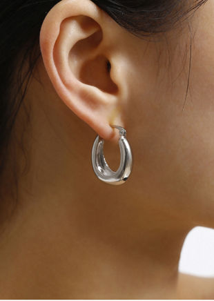 Small Chunky Hoop Earrings Silver
