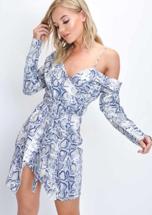 Snake Print Asymmetric Blazer Wrap Mini Dress Multi