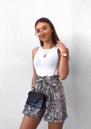 Snake Print Belt Elasticated Paper Bag High Waisted Shorts Multi